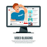 Video Blogging Character Header. Video blogging popular sport author character popping out of computer screen flat advertisement website header vector Royalty Free Stock Photos