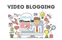 Video blogging concept. Idea of creating videos and vlogs about anything. Illustartion with icons as lightbulv, rocket, laptop screen. White background Royalty Free Stock Photos