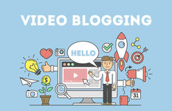 Video blogging concept. Idea of creating videos and vlogs about anything. Illustartion with icons as rocket, laptop screen Royalty Free Stock Photography