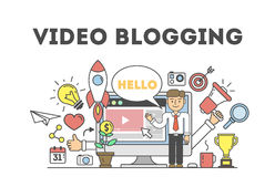 Video blogging concept. Idea of creating videos and vlogs about anything. Illustartion with icons as rocket, laptop screen. White background Royalty Free Stock Images