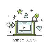 Video Blogging eller Vlogging online-kanal med anhängare och artikel med ensamrättinnehållet vektor illustrationer
