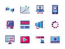 Video blogging flat color icons. Social media symbols for blogging, networking and video blog. Flat colorful icons set isolated on white background. Elements of Stock Images