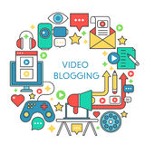 Video blogging flat line vector concept illustration. Poster, template for web. Royalty Free Stock Photography