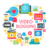 Video blogging flat vector concept illustration. Poster, template for web. Video blogging flat vector concept illustration. Poster, template for web Royalty Free Stock Image