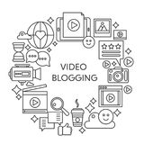 Video blogging thin line vector concept illustration. Stroke outline poster, template for web. Video blogging thin line vector concept illustration. Stroke Royalty Free Stock Images