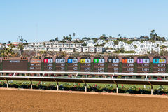 Video Board with Race Results at Del Mar Racetrack Royalty Free Stock Image