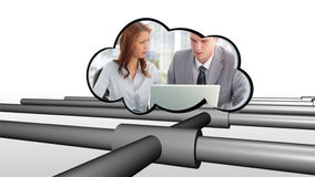 Video of business in a cloud Royalty Free Stock Photo