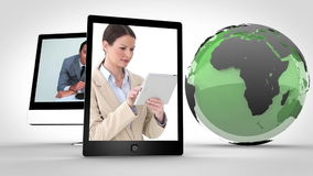 Video of business with a green Earth image courtesy of Nasa.org stock footage