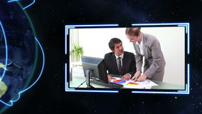 Video of business people with an Earth image courtesy of Nasa.org Royalty Free Stock Photography