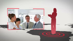 Video of business people in an office with Earth image courtesy of Nasa.org stock footage