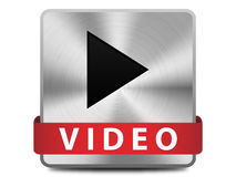 Video button. Play sign on a brushed metal button with video vector illustration