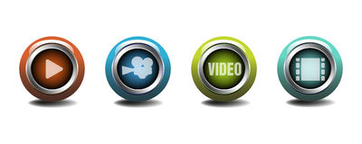 Video buttons Stock Photos