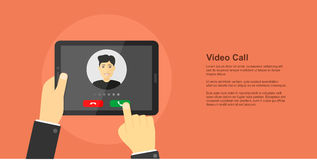 Video call concept banner stock illustration