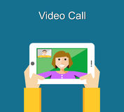Video call concept. Video call illustration. Video call concept. flat design.n Stock Photo