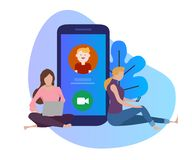Video call conference. young woman and man having conversation large phone screen. Vector royalty free illustration