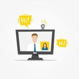 Video call desktop vector illustration. Video call app technology creative concept. Communication app graphic design royalty free illustration