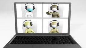 Free Video Call Diverse Team With Masks 3d Rendering Royalty Free Stock Photography - 184886097