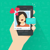Video call with girlfriend on mobile phone vector, flat cartoon smartphone video chat with lovely happy smiling girl and Royalty Free Stock Photo