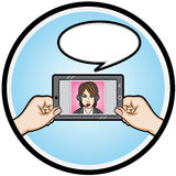 Video Call. Illustration video call with a business woman stock illustration