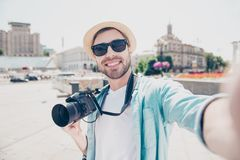 Video call internet online connection modern technology concept. Close up portrait of excited cheerful joyful handsome wearing casual jeans denim shirt white Royalty Free Stock Image