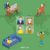 Video call isometric flat vector concept. Stock Photo