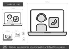 Video call line icon. Video call vector line icon isolated on white background. Video call line icon for infographic, website or app. Scalable icon designed on stock illustration
