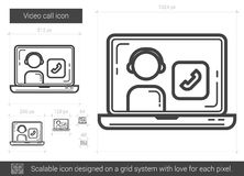 Video call line icon. Video call vector line icon isolated on white background. Video call line icon for infographic, website or app. Scalable icon designed on vector illustration