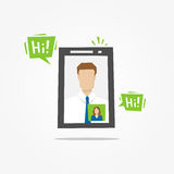 Video call mobile phone vector illustration. Video call mobile app creative concept royalty free illustration