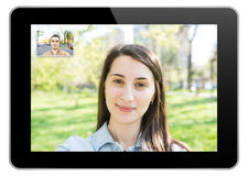 Video Call On Modern Black Tablet Stock Photos