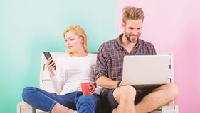 Video call opportunity. Man girl laptop and smartphone. Communication without barriers. Keep in touch everywhere mobile. Internet modern technology video stock images