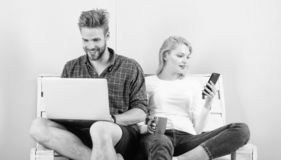 Video call opportunity. Man girl laptop and smartphone. Communication without barriers. Keep in touch everywhere mobile. Internet modern technology video stock image