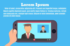 Video call-sm2. Smartphone in hand. The interface of the video call application. Videochat between businessmen. Vector illustration in a flat style royalty free illustration