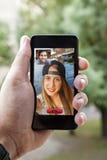 Video Call Via Smart Phone Stock Image