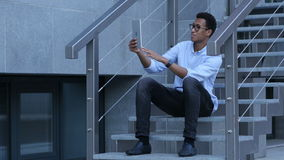 Video call via tablet. Standing Outdoor and Talking on Phone, Creative designer , businessman stock video footage