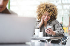 Video calling on smart phone stock photography