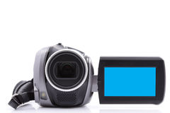 Video camera. Digital video camera with empty display - over white background Royalty Free Stock Photos