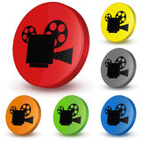 Video camera. Different variants of colours. Vector 3D button Royalty Free Stock Photography