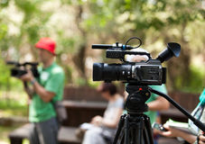 Video camera. Covering an event with a video camera Stock Photo