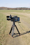 Video camera. Professional video camera in the field Stock Photo