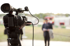 Video camera. Covering an event with a video camera Stock Photography