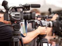 Video camera. Covering an event with a video camera Stock Images
