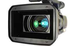 Video camera. On white background stock images
