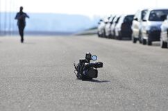 Video Camera on Asphalt Road Royalty Free Stock Photo
