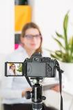 Video camera blog recording. Vlog blogger woman. Stock Photos