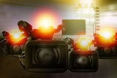 Video camera camcorder in stadium for making sport news. Or live on TV Royalty Free Stock Photo