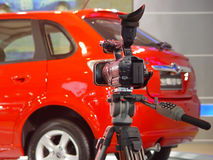Video camera and car royalty free stock photo