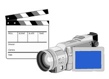 Video camera with clapper boar. Illustration of a video camera with a clapper board vector illustration