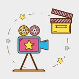 Video camera with clapper board and filmstrips. Vector illustration Royalty Free Stock Images