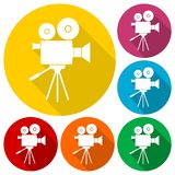 Video camera, Film Camera Icons set with long shadow. Vector icon Royalty Free Stock Images