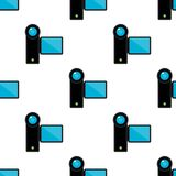 Video Camera Flat Icon Seamless Pattern Stock Images